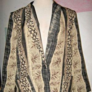 Tan Black Brown Floral Stripe 2 Pocket Blazer 1X